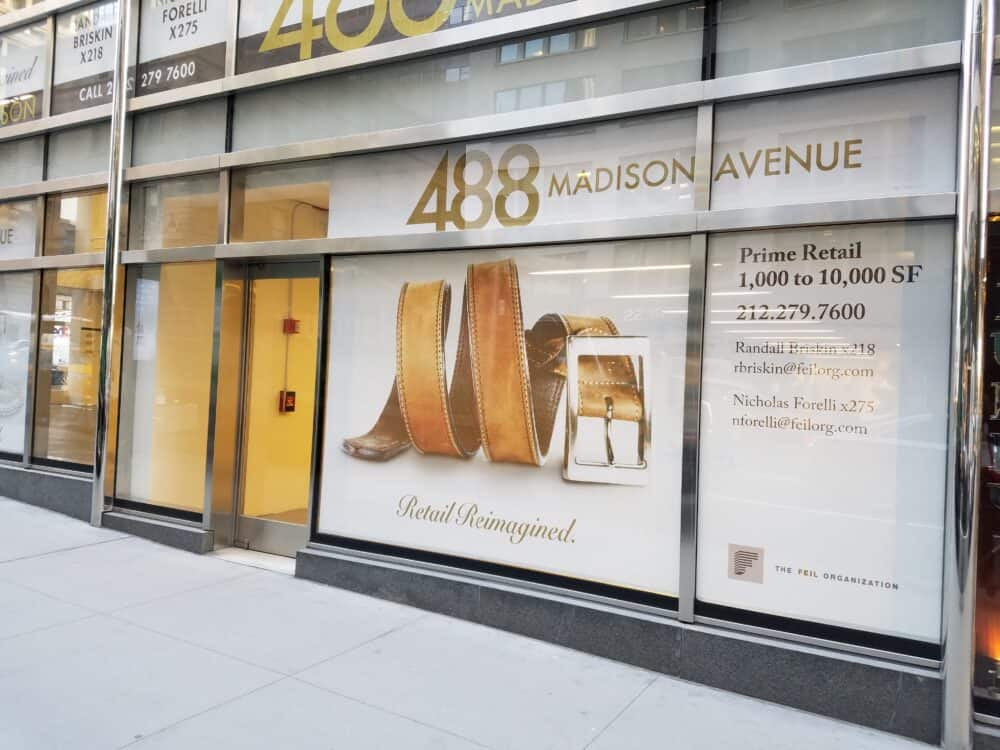 madison avenue new yorkk real estate retail window graphics