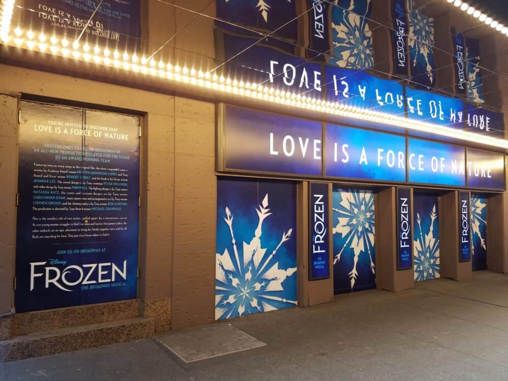 broadway frozen vinyl window decals signs nyc