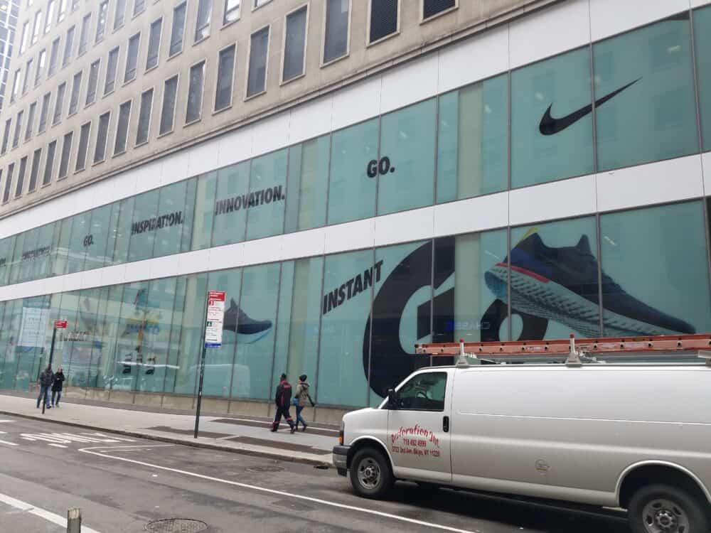 nike store in new york city window graphics wrap