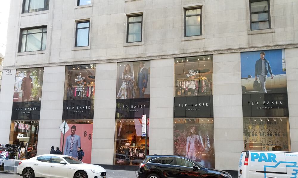 custom decal printing ted baker store front windows nyc