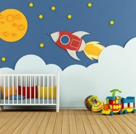 space theme of rockets and stars baby nursery room wall decor