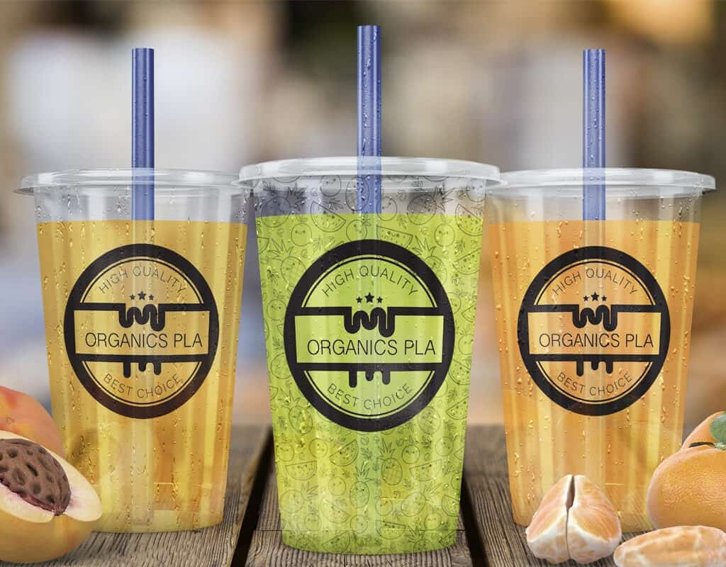 Clear circle labels placed on beverages to emphasize colors.