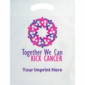 Custom plastic bag to store breast cancer promotional products