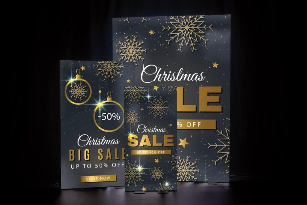 Decorate your store for the holiday with light display banners that show off your festive spirit