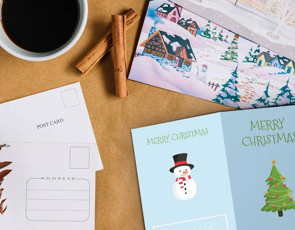 Holiday design for personalized postcards and brochures