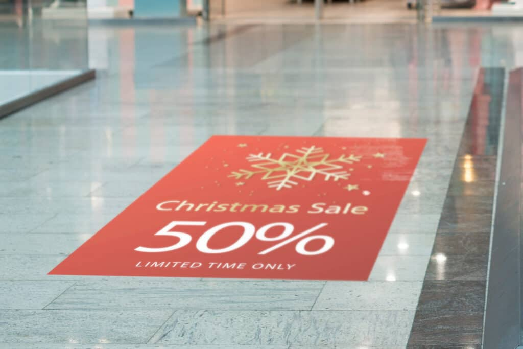 Floor graphics can maximize your floor to spread the news of your deals while also decorating your store.