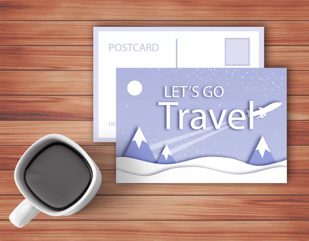 Postcard promoting traveling agency