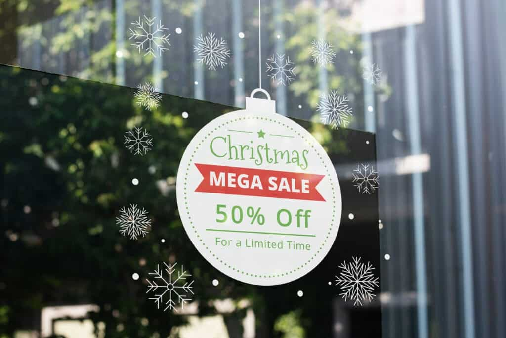 Window decals can show your festive holiday decorations and spread news about your deals