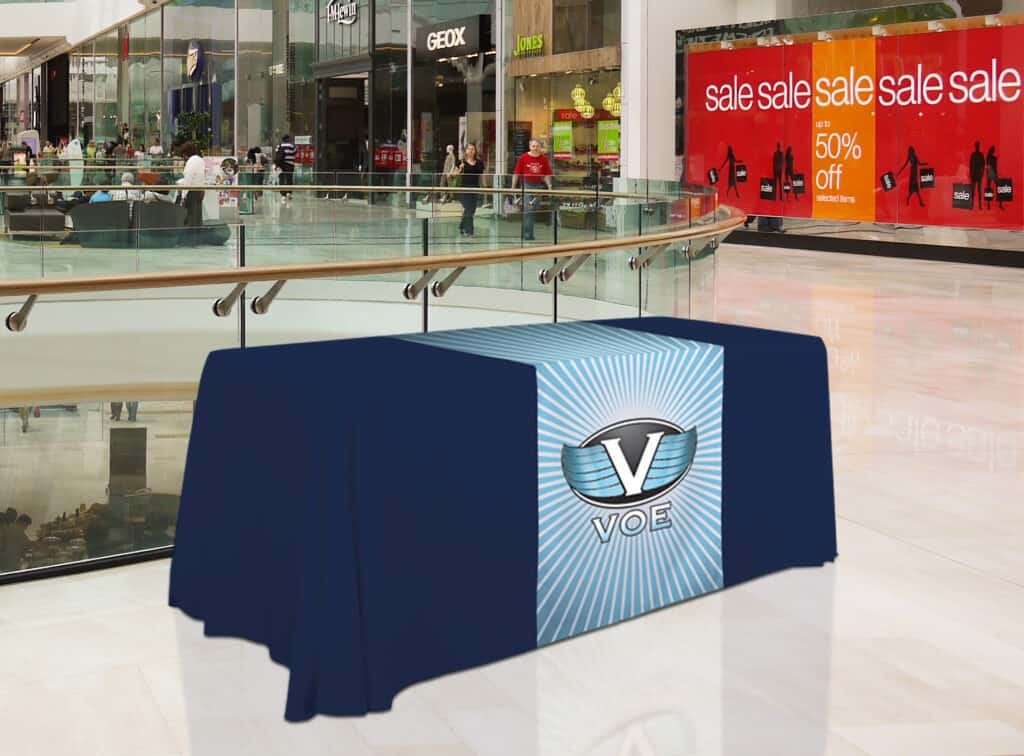 Using tablecloths change your boring tables to powerful point-of-purchase displays